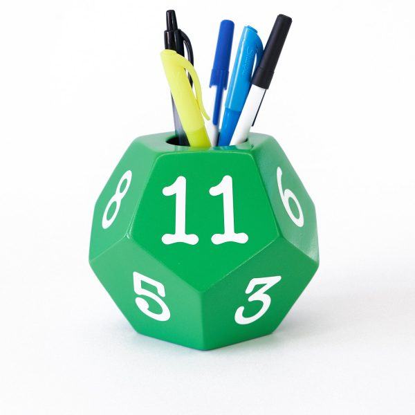 Uniquely Geek custom 12 sided pencil holder green staged
