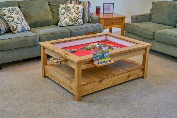 Uniquely Geek custom gaming table Viscount coffee table staged living room game mode light