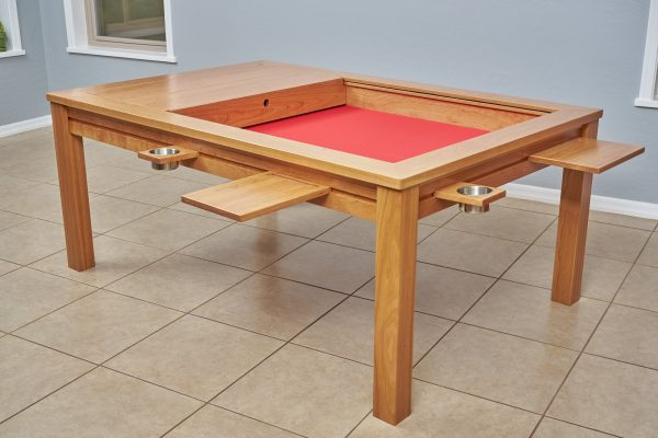 Uniquely Geek custom gaming table the Earl rustic style cherry wood customer table game mode with attachments two