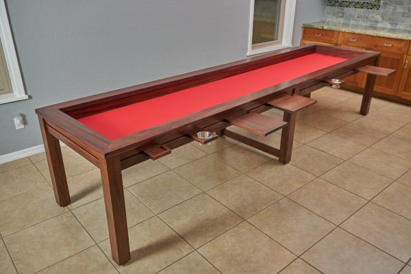 Uniquely Geek custom gaming table the Earl rustic style 12 foot customer table game mode with attachments red bottom