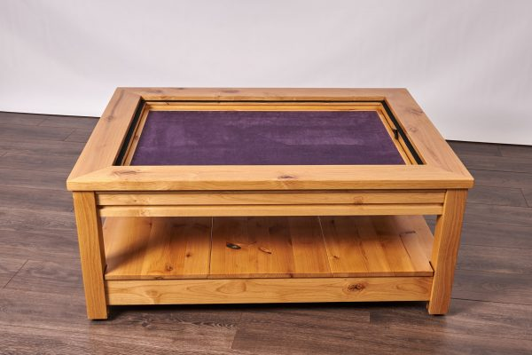 Uniquely Geek custom gaming table Viscount coffee table with leaf cube under table storage game mode two