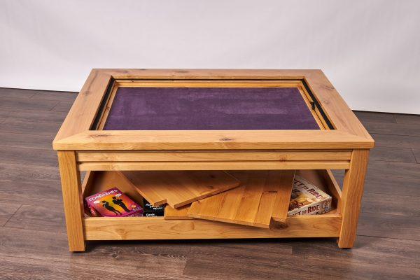 Uniquely Geek custom gaming table Viscount coffee table with leaf cube under table storage game mode