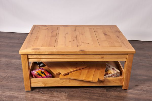 Uniquely Geek custom gaming table Viscount coffee table with leaf cube under table storage