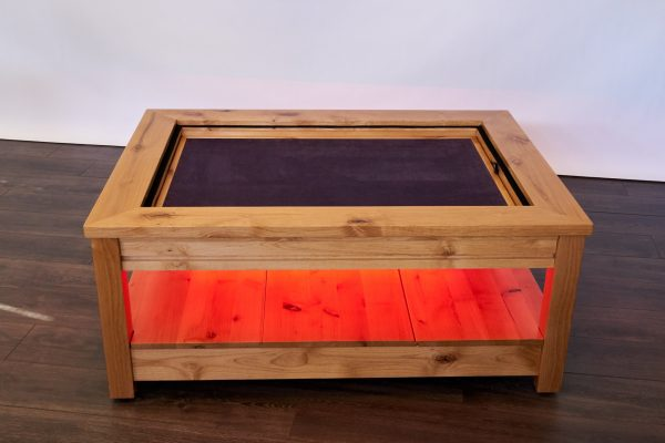 Uniquely Geek custom gaming table Viscount coffee table with leaf cube under table led's red