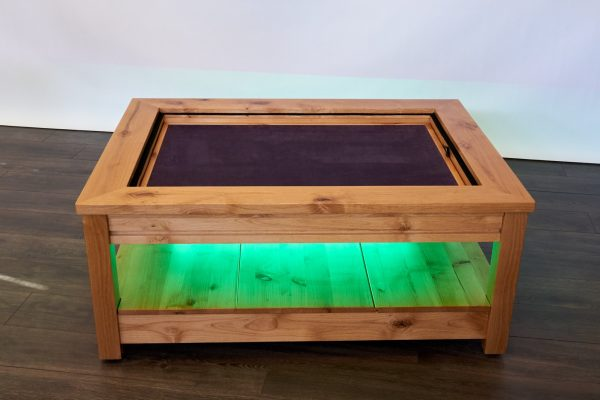Uniquely Geek custom gaming table Viscount coffee table with leaf cube under table led's green