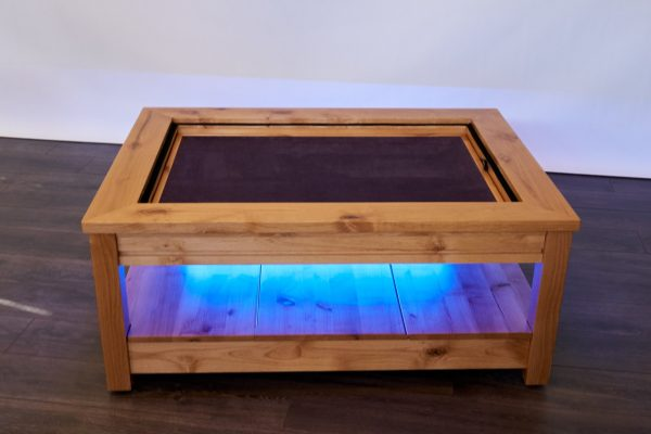 Uniquely Geek custom gaming table Viscount coffee table with leaf cube under table led's blue