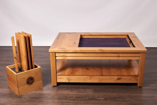Uniquely Geek custom gaming table Viscount coffee table with leaf cube