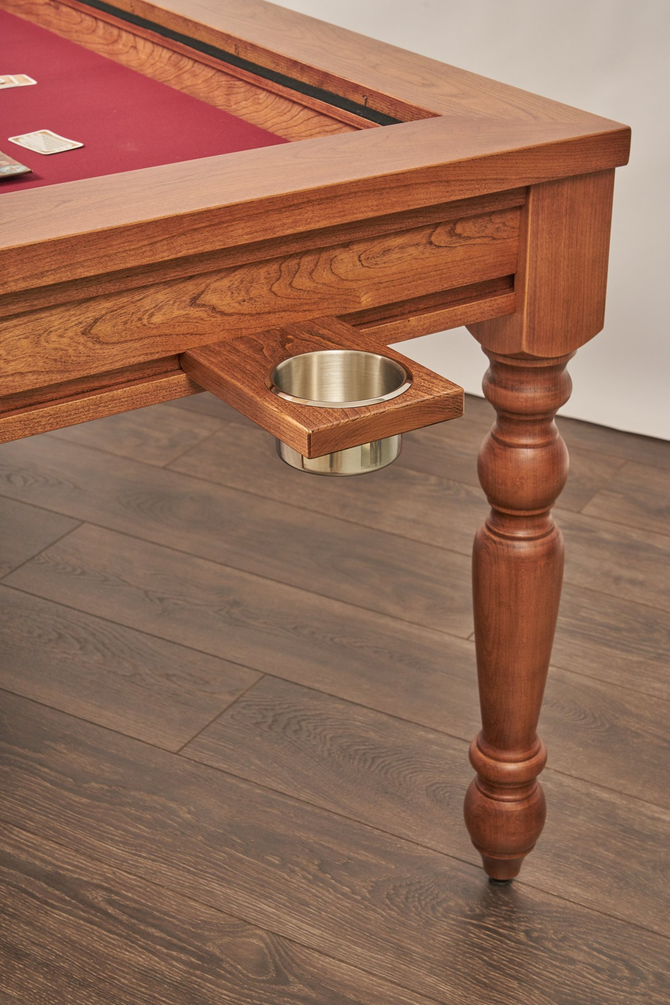 Uniquely Geek custom gaming table natural farmhouse style legs with cupholder staged