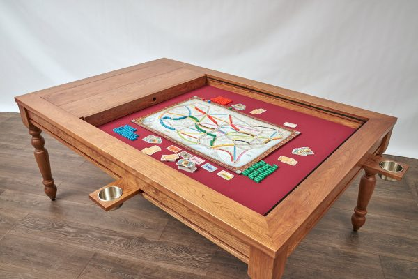 Uniquely Geek custom gaming table natural farmhouse style table with cupholders staged two