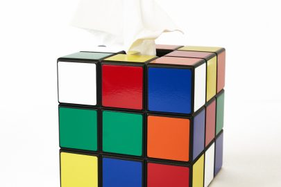 Uniquely Geek Rubrics Cube tissue box color sides
