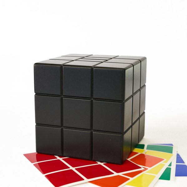 Uniquely Geek Rubrics Cube coin bank blank sides with stickers