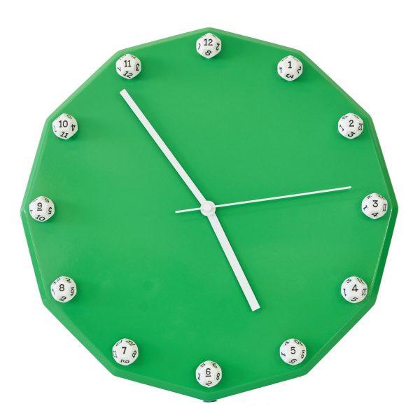 Uniquely Geek custom dice clock green