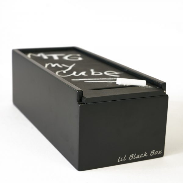 _DSC3473--Uniquely Geek lil black box trading card cube chalk board front