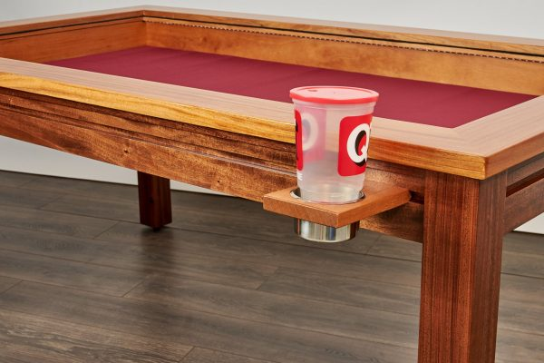 Custom gaming table rail attachment jumbo cup holder large cup