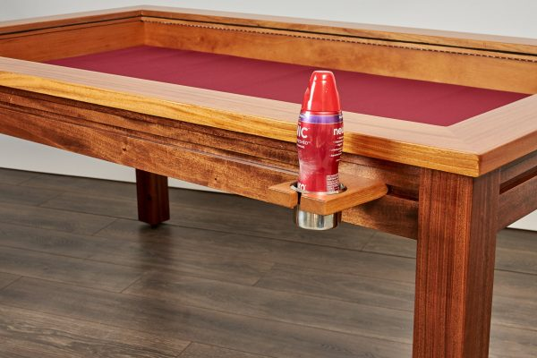 Custom gaming table rail attachment regular cup holder with plastic bottle