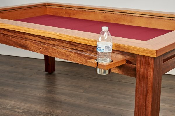 Custom gaming table rail attachment regular cup holder with water bottle
