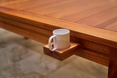Custom gaming table rail attachment mug holder with mug