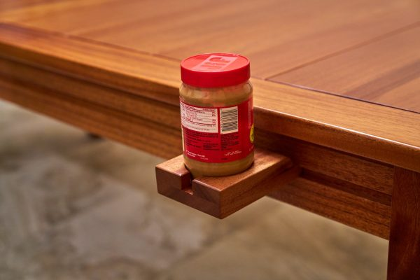 Custom gaming table rail attachment mug holder with peanut butter
