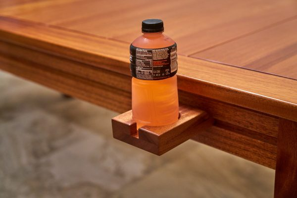 Custom gaming table rail attachment mug holder with sports drink 2