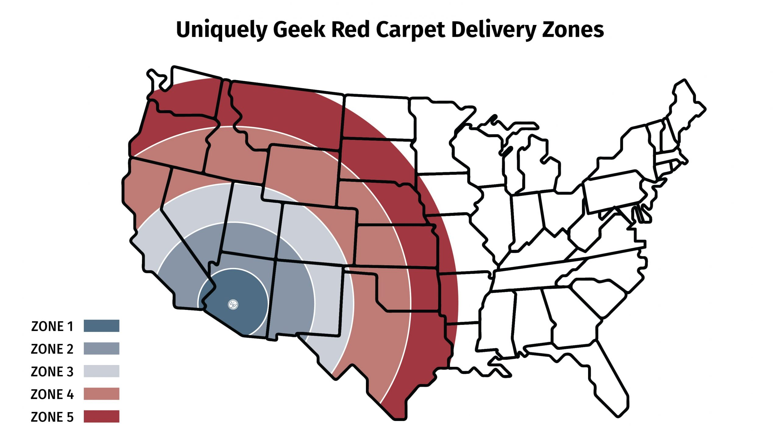 Uniquely Geek Red carepet delievry map zones