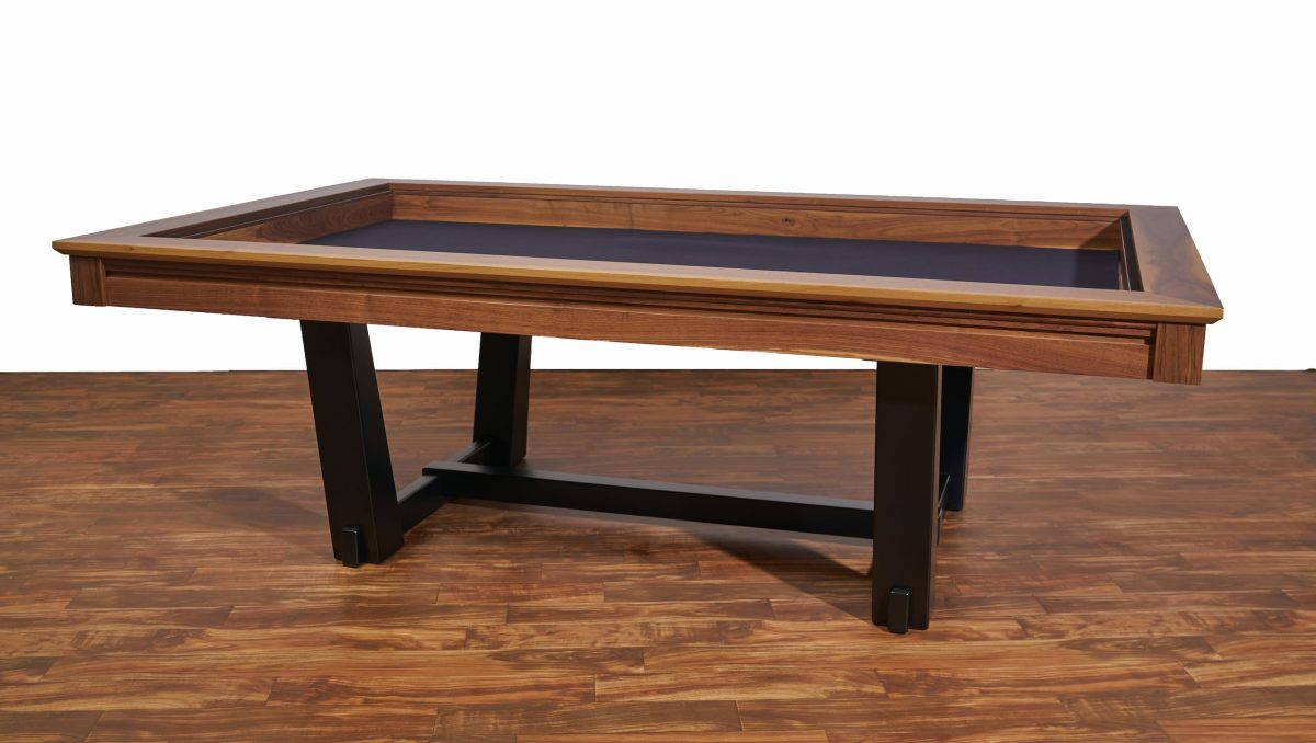 Radcliffe Modern Custom board gaming trestle table high character walnut wood