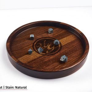 Large Round Hardwood dice tray in Walnut wood with natural stain and dice.