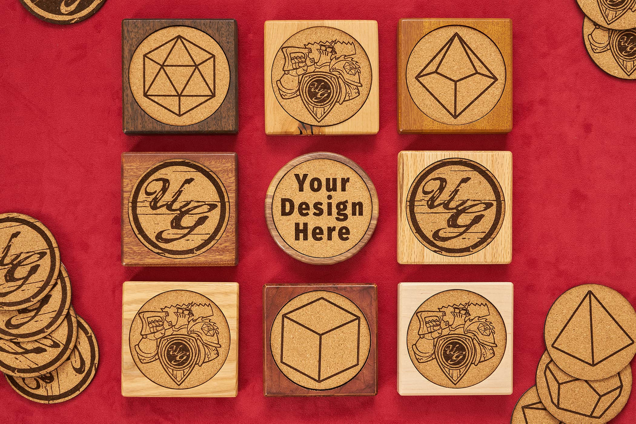 Custom wooden coasters and personalization from Uniquely Geek