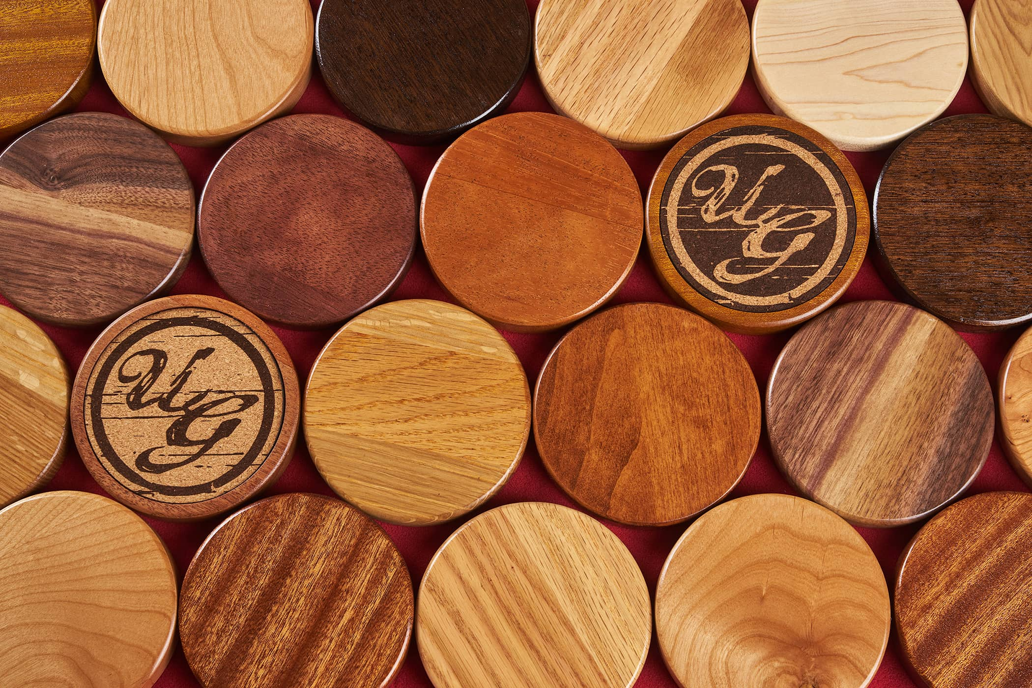 High quality Hardwood coasters variety from Uniquely Geek